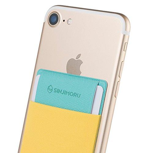 Sinjimoru Funda ultradelgada engomada para Tarjetas o Dinero, diseñada para teléfonos Inteligentes iPhone y Android. Sinji Pouch Flap, Amarillo.