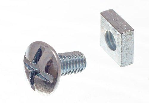 Overkapping schroef kruiskop 6 mm M6 x 12 mm lengte BZP met vierkante moeren (verpakking van 4)