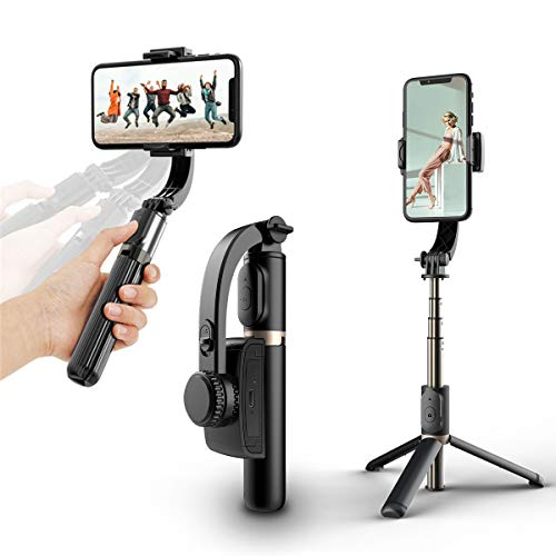 Estabilizador de cardán de Mano, Estabilizador de Video portátil para teléfonos Inteligentes, Selfie Stick para iPhone Android Phone Youtuber, con Control Remoto Trípode,Black