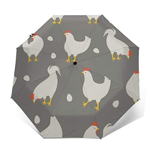 90ioup Hahn-und Huhn-Muster-automatischer dreifachgefalteter Regenschirm-Regenschirm-faltender Sonnenschutz