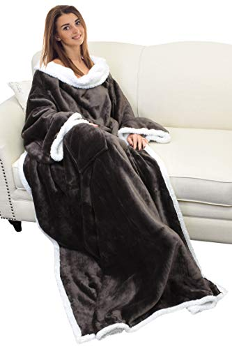 Catalonia Sherpa Wearable Blanket with Sleeves Arms,Super Soft Warm Comfy Large Fleece Plush Sleeved TV Throws Wrap Robe Blanket for Adult Women and Men Brown