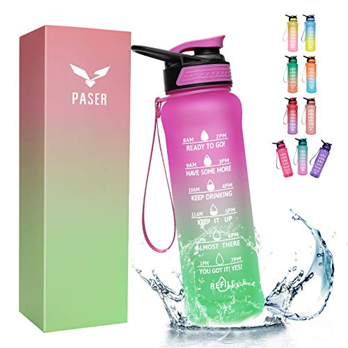 PASER Water Bottle 32 oz with Straw, Motivational Time Marker & Straw Brush, Leakproof Tritran BPA Free Fast Flow Water Jug for Fitness, Gym and Outdoor Sports(Included Gift Box)