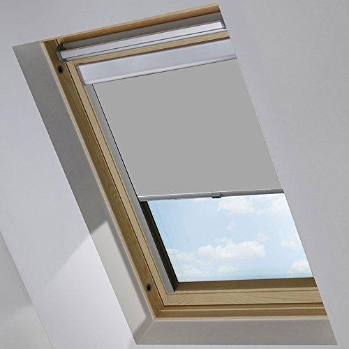 MCTECH Dachfenster Rollo Sonnenschutz Verdunkelung Thermorollo Jalousien Rollos (C04, Grau)