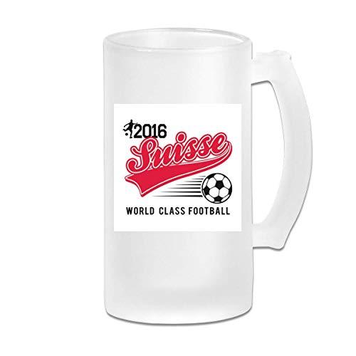 Taza de jarra de cerveza de vidrio esmerilado de 16 oz impresa - Euro 2016 Fútbol Suiza Suiza Béisbol Blanco - Taza gráfica