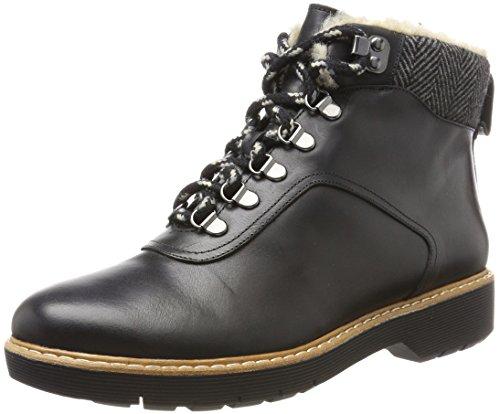 Clarks Witcombe Rock, Botas Mujer, Negro (Black Leather), 40 EU
