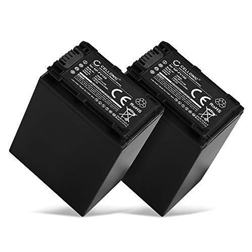 CELLONIC 2X Akku kompatibel mit Sony FDR-AX53 FDR-AX700 FDR-AX100 HXR-NX80 HDR-CX625 -CX450 CX900 -CX680 -CX675 HDR-PJ675 NEX-VG30 -VG10 VG20 DCR-SR68 3300mAh NP-FV70 -FV50 -FV100 Ersatzakku Batterie