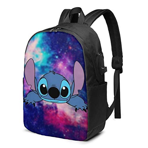 Fashion Leisure Backpack For Girls And Boys, Large Laptop Backpack, Waterproof Business Carry On Backpack For Men And Women, Water Bottle Pockets Daypack,Disney Lilo Stitch Galaxy