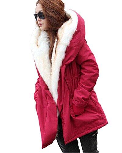 Minetom Mujer Invierno Parkas Moda Caliente Forro De Felpa Abrigos Con Prácticos Bolsillos Manga Larga Chaqueta Con Capucha Outerwear Rojo ES 36