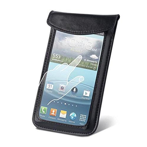andyhandyshop Touchscreen Smartphone Tasche für MobiWire Taima, Kunstleder, schwarz, 170 x 92 x 12mm