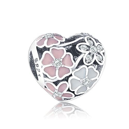 JIAQ Pulsera del Encanto 925 Plata Rosa Esmalte Cherry Blossom Daisy Crystal Bead Joyería Haciendo Berloque
