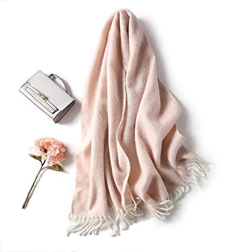 Bufanda Cálido Invierno de Mujer Párrafo Largo Estilo Europeo y Americano Color sólido Borla Moda Salvaje Collar (Color : A)