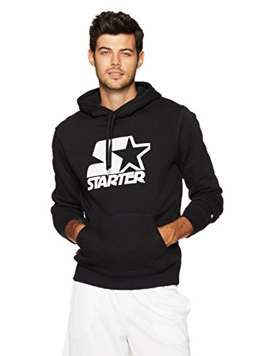 Starter Men's Pullover Graphic Hoodie, Black with White Logo, L
