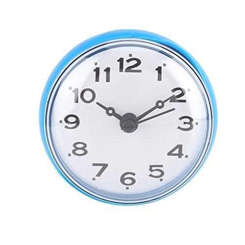 Yosoo wasserdichte Dusche Uhr mit Saugnapf Runden Arabischen Digitalen Zifferblatt für Bad Dusche Uhr Bad Küche Zubehör Banduhr Wandmontage(blau)