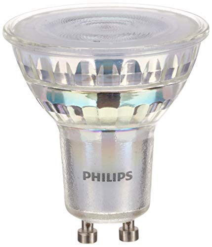 Philips - LED Gu10, 3.8 W Equivalente a 50 W, 345 Lumen, Regulable, Blanco Cálido, Pack de 6 Bombillas