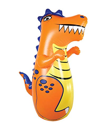 J&A's Inflatable Dudes Dinosaur (Rex) 47 Inches - Kids Punching Bag   Already Filled with Sand  Bop Bag   Inflatable Toy   Boxing - Premium Vinyl-   Bounce-Back Action!   Indoor Outdoor Party Game