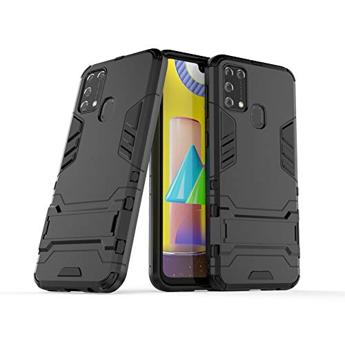 Hülle für Samsung Galaxy M31 (6,4 Zoll) 2 in 1 Hybrid Dual Layer Shell Armor Schutzhülle mit Standfunktion Hülle (Schwarz)