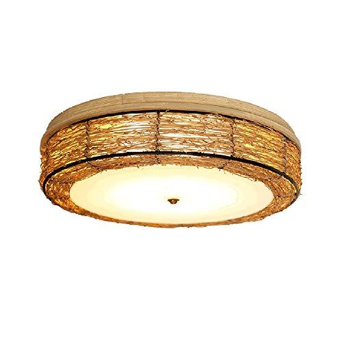 Rund Rattan Decken leuchte Rustikale Vintage Deckenleuchte Retro Bambus Deckenlampe Wohnzimmerlampe Schlafzimmerlampe Landhaus Deko lampe E27 Beleuchtung Kreativ Loft Wandleuchten, 32 cm