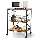 AzF-001 - Carro de almacenaje de metal y madera, carrito de cocina con cesta de 3 estantes, carrito de servicio con ruedas, 60 x 40 x 73,5 cm