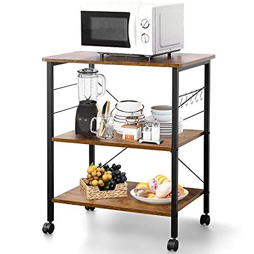 Estantería de cocina con ruedas, carrito de cocina de madera con 3 estantes, carro de servicio con 6 ganchos y 4 footpad, diseño industrial, marrón vintage, 60 x 40 x 73,5 cm