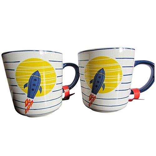 Keramiktasse mit Raketenschiff, ideal für Kaffee und Tee 10 Ounce weiß