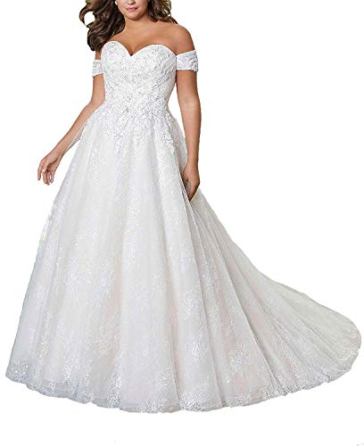 iluckin Plus Size A Line Off Shoulder Cap Sleeves Wedding Dress with Train Sequins Long Bridal Gown for Bride Ivory
