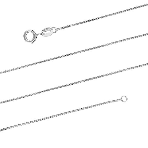 Sterling Silver 1mm Box Chain Necklace Solid Italian Nickle-Free, 14-36 Inch (30)