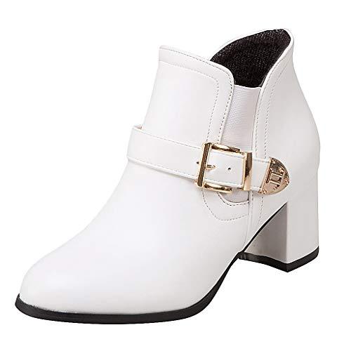 Damen Booties FGHYH Damen Feste Keile Runde Große Schnalle Mittlerer Absatz Stiefel Schuhe(37, Weiß)