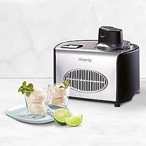 H.Koenig professionelle Eismaschine HF250 - Elektrisch - 1,5 L - 150 W - Kühlfunktion - Schnelle Zubereitung - Eis, Frozen Joghurt und Sorbet