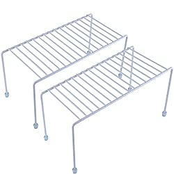 2 white wirel shelf riser organizing shelves