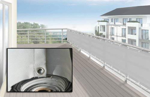 Floracord 12-90-50-07 Hochwertige Balkonumrandung aus Polyesterstoff silbergrau