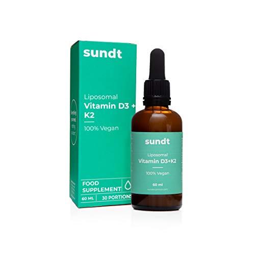 Vitamina liposomal D3+K2 en gotas para obtener suficiente calcio, en el lugar adecuado - Frasco de 60 ml - 30 aplicaciones - Sin OGM - Hecho en la UE - Sundt Nutrition® Suplemento alimenticio