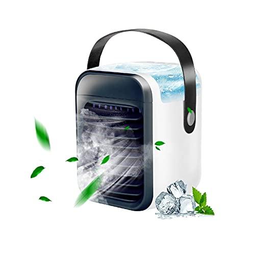 Ventilatore portatile per condizionatore d'aria condizionatore evaporatore a 3 velocità 7 colori senza fili con maniglia per casa, ufficio e stanza