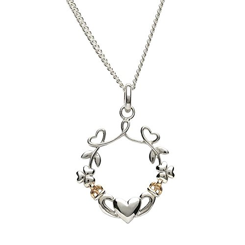 Shamrock Necklaces for Women Claddagh Necklace Sterling Silver Heart Necklace Gold Heart Necklace Irish Gifts Crafted by Maker-Partner Boru in Co. Dublin, Ireland