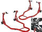 Caballete de Moto Soporte Delantero y Trasero Universal Portátil Tipo Elevador, Acero