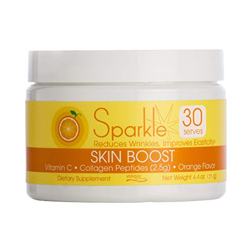 Sparkle Skin Boost Orange Verisol Collagen Peptides Protein Powder Vitamin C Supplement Drink, 5.3oz