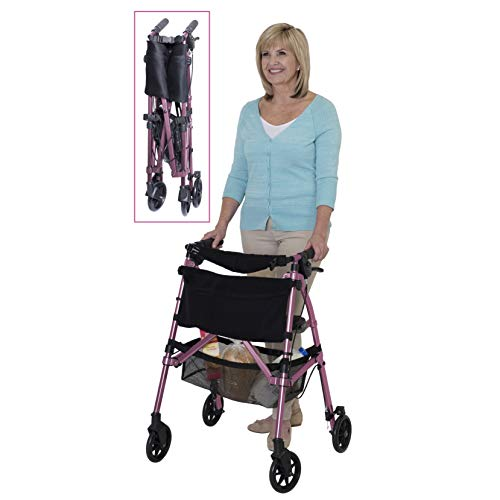 Stander EZ Fold-N-Go Rollator, Lightweight Folding 4 Wheel Rolling Walker for Seniors with Compact...