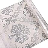 HOYOYO Self-Adhesive Shelf Liners Paper, Removable Self Adhesive Shelf Liner Dresser Drawer Wall Stickers Home Decoration, Vintage Gray Damask 17.8 x 118 Inches