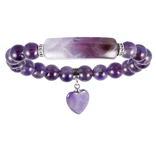 Nupuyai Amethyst Healing Crystal Stone Bracelet for Women, Lucky Heart Charm 8mm Beads Stretch Bracelet