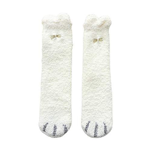 LLLucky Women Winter Fluffy Slipper Socks Cartoon Ears Cat Paw Embroidery Warm Hosiery White