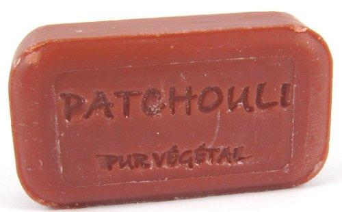 2x 100g handgegossene Seife 'Patchouli', angereichert mit Bio-Arganöl, aus Südfrankreich, mit Pflanzenstücken