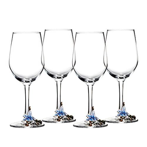DEF Juego de 4 Vasos de Vino Tinto esmaltados Lily, decantador de Copa de Cristal, Copas de Vino Elegantes para Banquetes Familiares Bodas (Color : Blue-1)