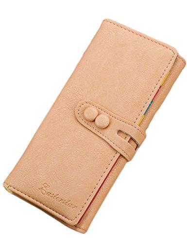 Minetom Damen Niedlich Süßigkeit Farben Lang Geldbeutel Kreditkartenfächer wallet Lady Clutch Handtasche Geldbörse (Beige)