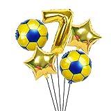 XIAOYAN Globos 6 unids / Lote 18 Pulgadas de fútbol fútbol Tema de fútbol Ronda Globos de lámina 32 Pulgadas Oro Plata número Globo Deporte Muchacho cumpleaños Fiesta Bolas ( Color : Deep Sapphire )