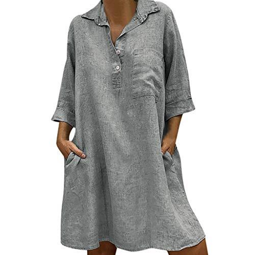 Sannysis Damen Leinenkleid V-Ausschnitt Casual Kleid im Boho Look Sommerkleider Lange Bluse Rand Buttons Lose Beiläufige Tunika Hippie Mexikanische Freizeit Kleider (M, Grau)