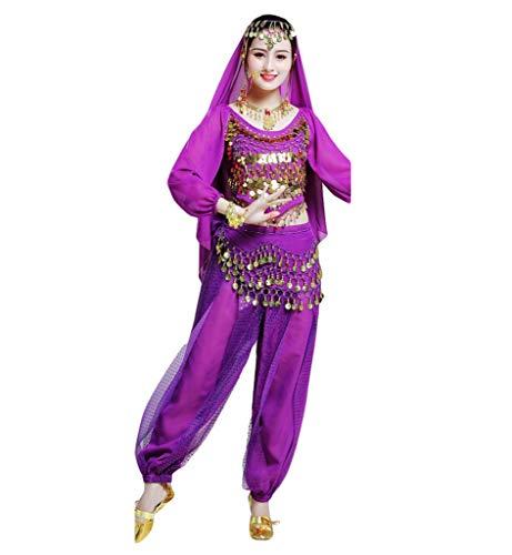 WanYangg Bauchtanz Kostüm Set, Bauchtanz Karneval Bauchtänzerin Kostüm Belly Dance Kleidung Outfit Indien Dance Kleidung Oberteil Schleier Hüfttuch Hose Top + Rock 2# Purple Highlight Hosen M