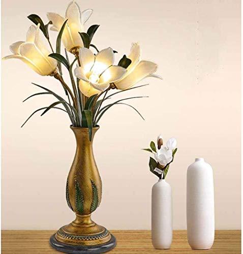Lámparas de mesa americanas Dormitorio Cama Creativo Cálido Estudio Faros Jardín Flores Simulación romántica Lily 43 * 68cm