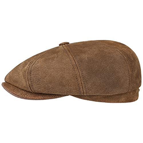 Stetson Gorra Burney Hatteras, Hombre - 100% Cuero auténtico - Gorra de Primera Calidad con Forro de algodón - Gorra Newsboy de Ocho Piezas - Boina Moderna - Verano/Invierno marrón L (58-59 cm)