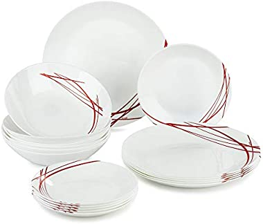 ARCOPAL P3363, Domitille Rouge Collection 18 Pcs Dinnerware Set, Tempered Glass Round Plates, Set for 6