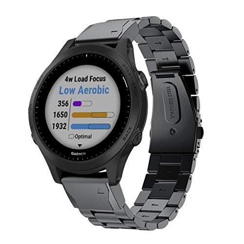 VICARA - Correa de Repuesto para Reloj Inteligente Garmin Forerunner 945 (Acero Inoxidable)