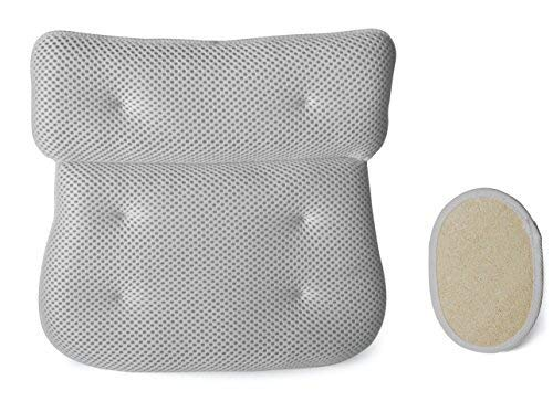 Luxury Plush Bath Spa Cushion Pillow with Suction Cups Plus Exfoliating Natural Loofah Pad...